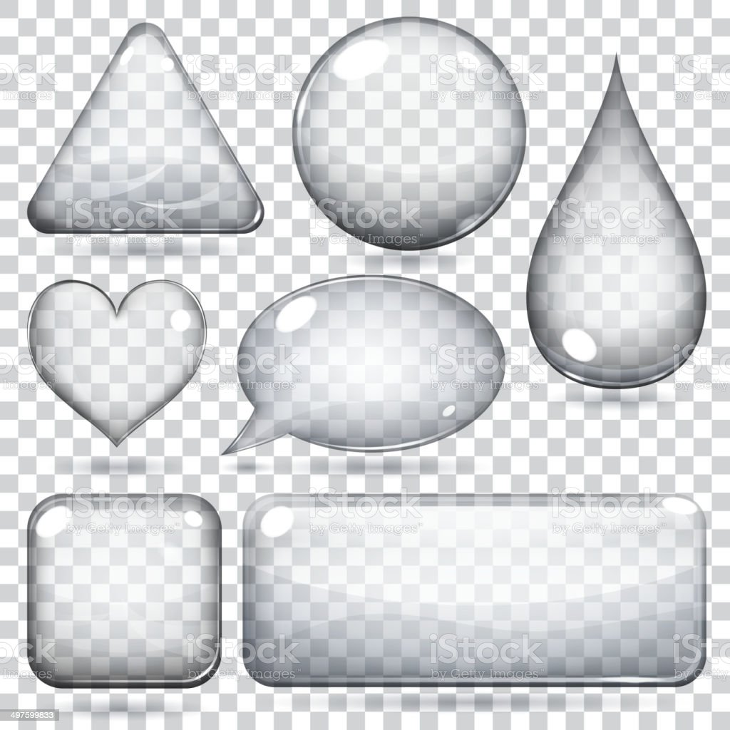 Transparent glass shapes vector art illustration