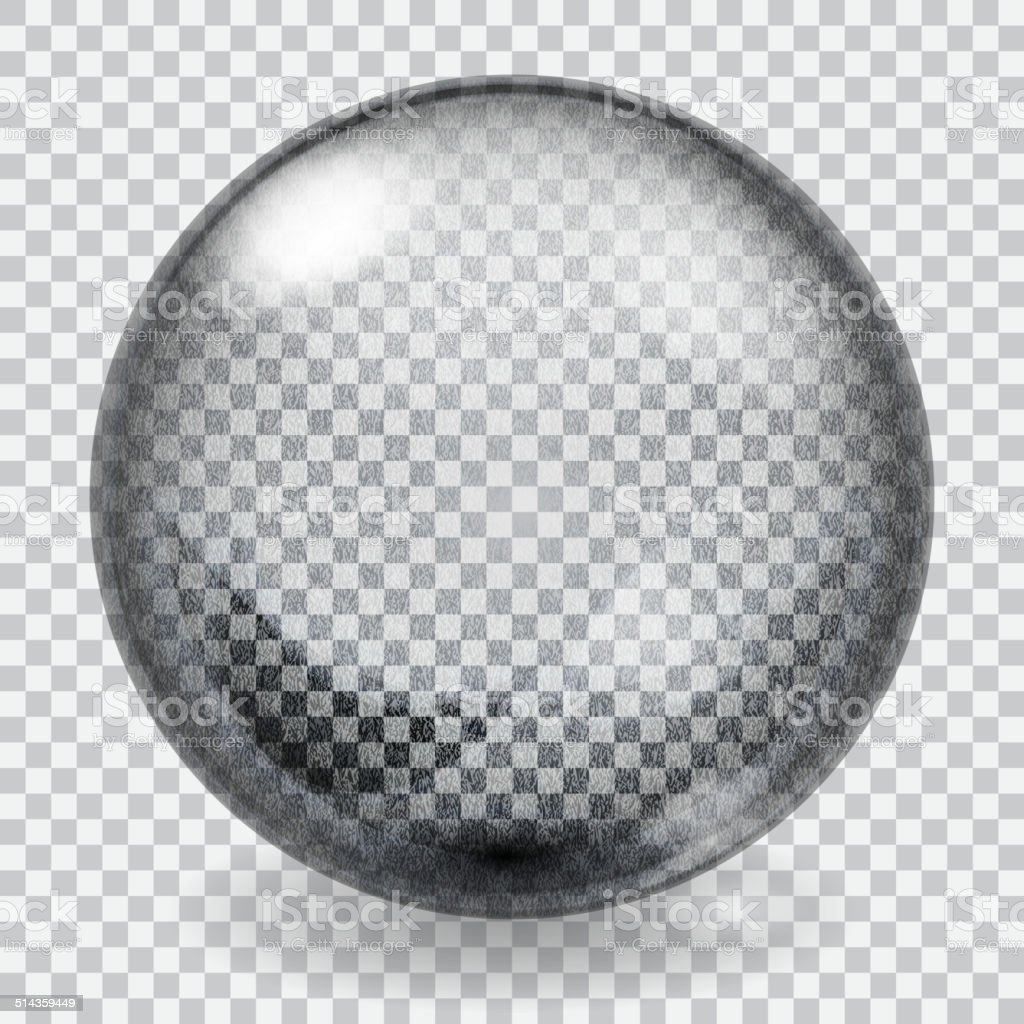 Transparent glass sphere with scratches vector art illustration
