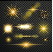 Transparent glow light effect. Star burst with sparkles.lens fla
