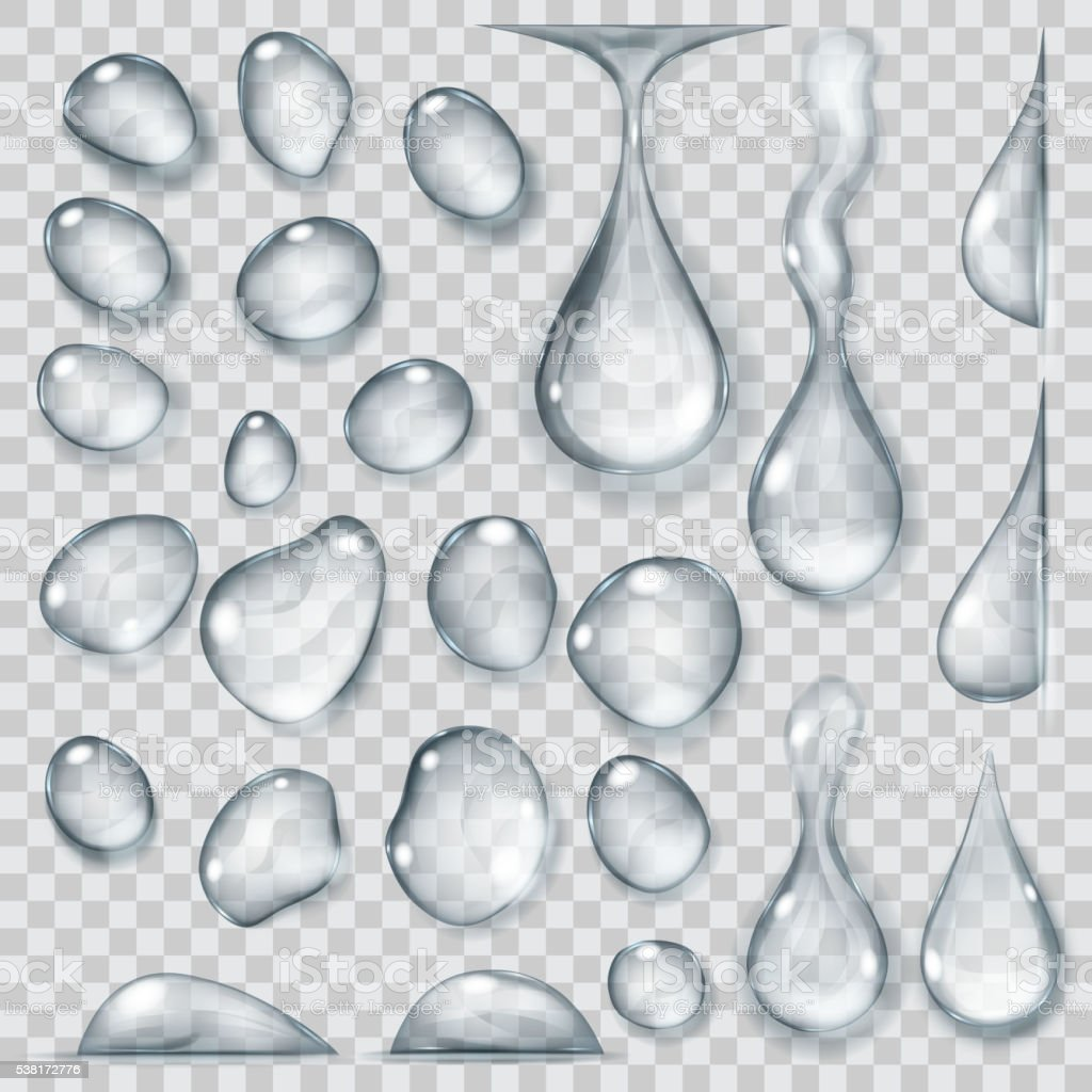 Transparent gray drops. Transparency only in vector format vector art illustration