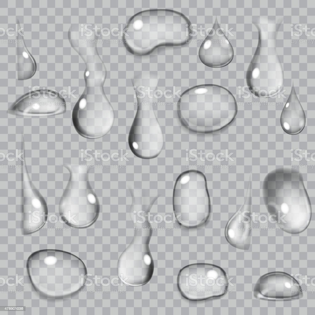 Transparent gray drops vector art illustration