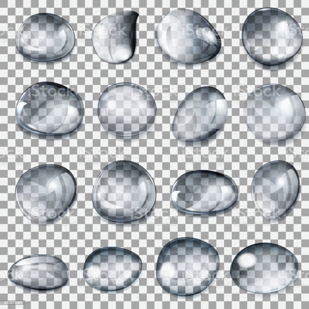 Transparent gray drops vector art illustration