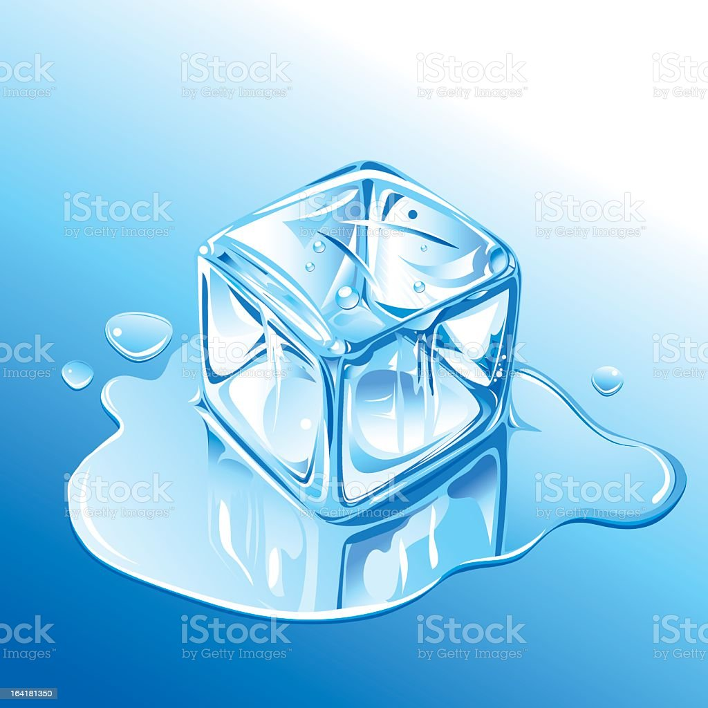Transparent ice cube melting isolated on blue background royalty-free stock vector art