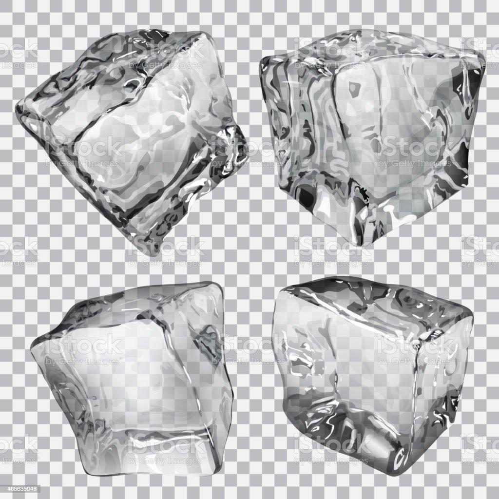 Transparent ice cubes vector art illustration