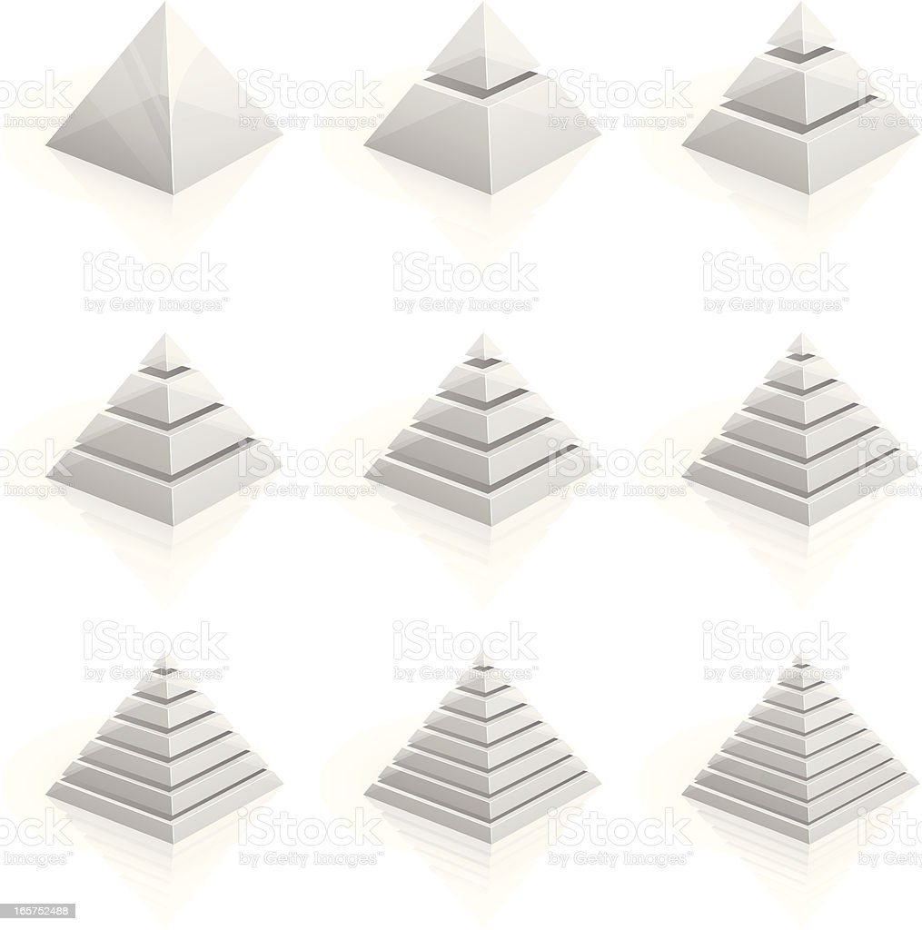 Transparent layered pyramids divided into two to nine rows vector art illustration