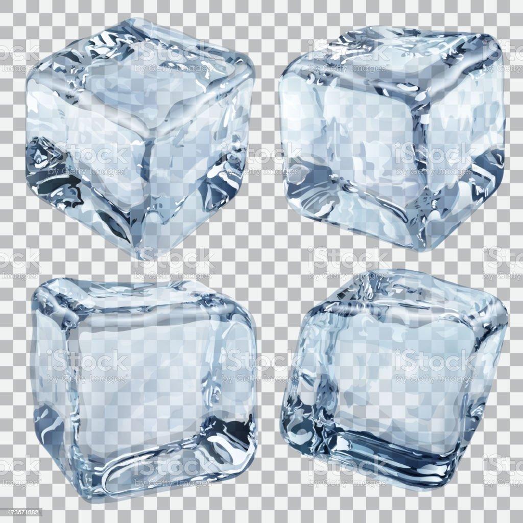 Transparent light blue ice cubes vector art illustration