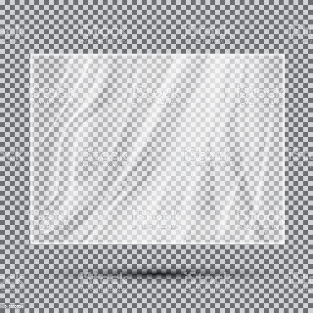 Transparent Light Polyethylene Banner. vector art illustration