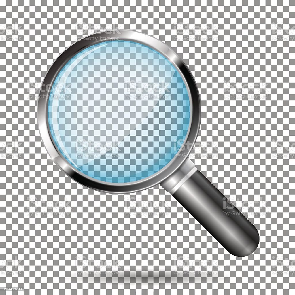 Transparent magnifying glass vector art illustration
