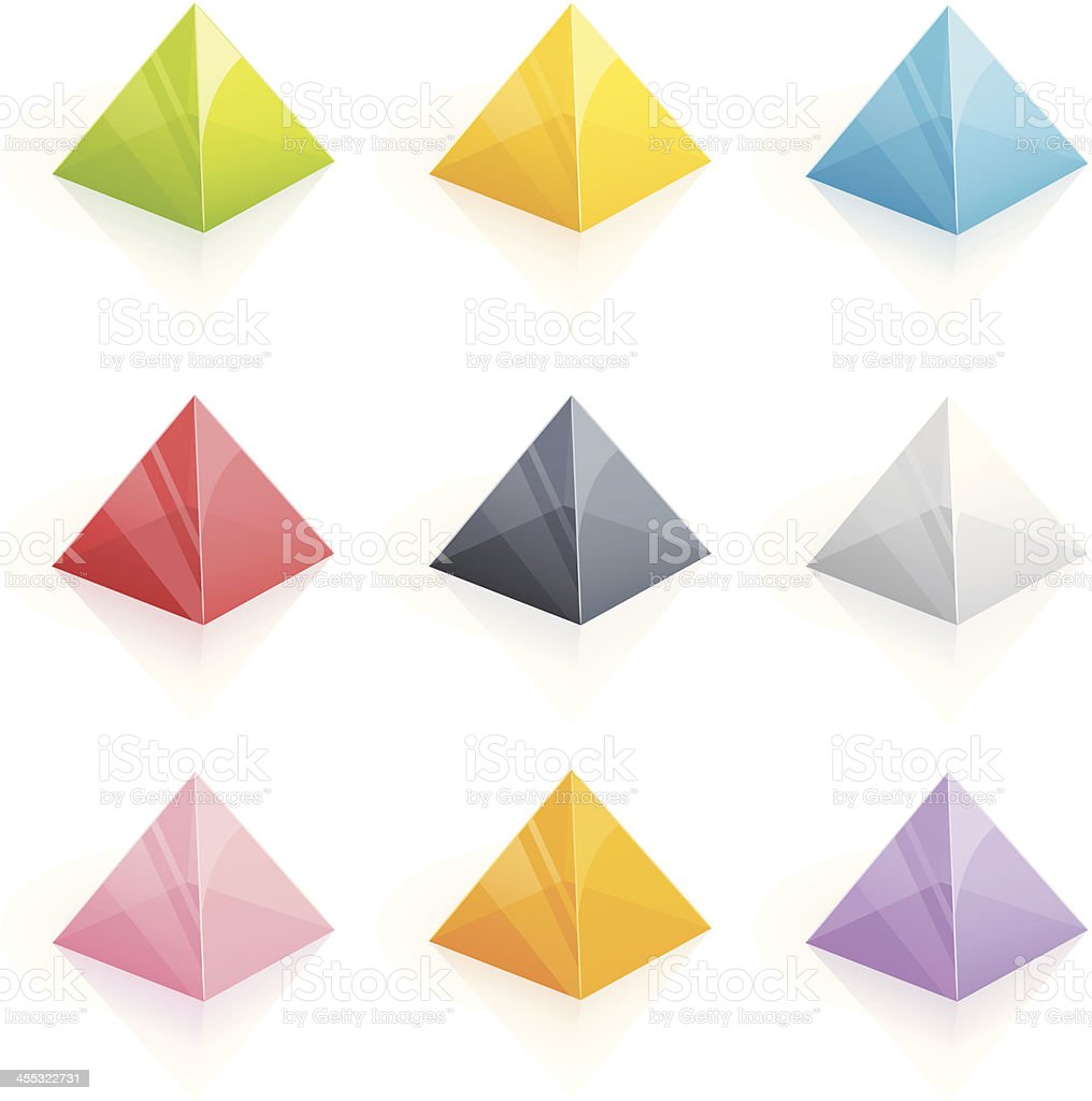 Transparent multicolored pyramids - 3D series vector art illustration
