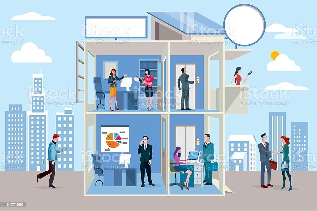 Transparent Office Building vector art illustration