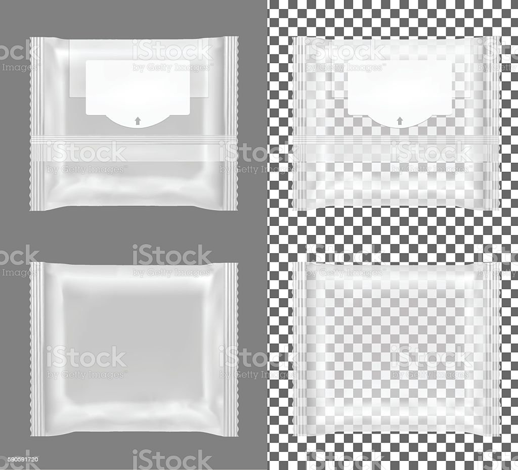 Transparent package with flap for snacks, food, chips, cheese. vector art illustration