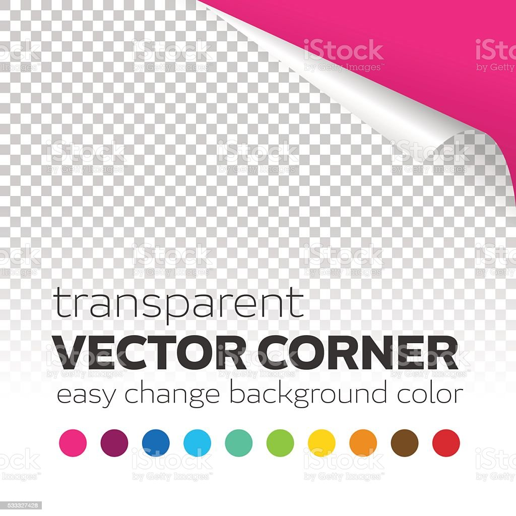 Transparent paper page curl vector corner with colored background vector art illustration