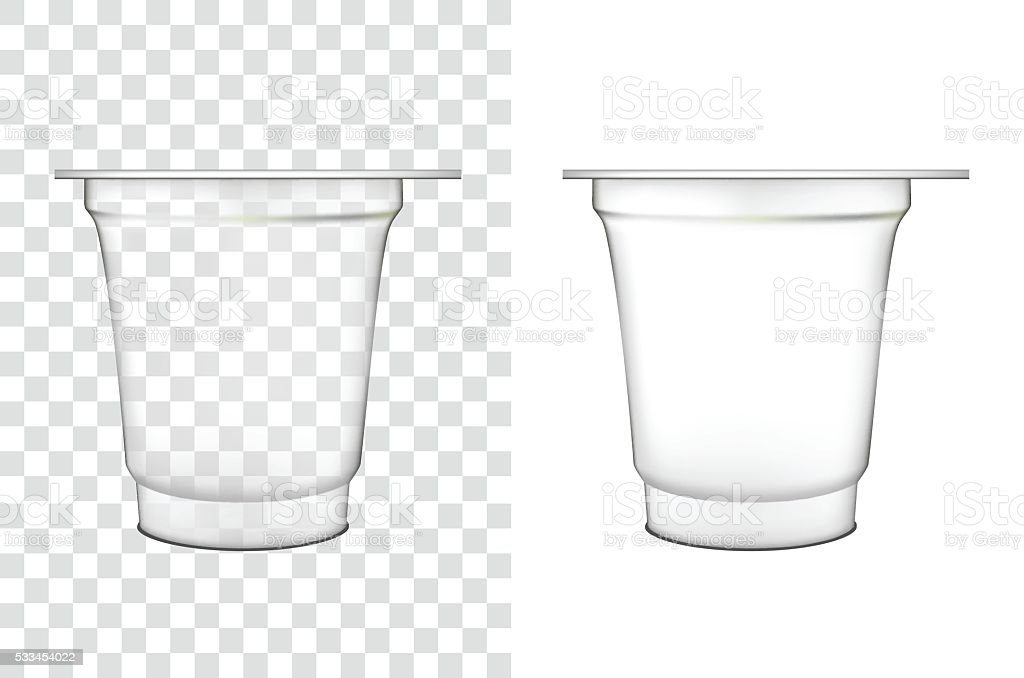 Transparent plastic container for  sour cream  and other food vector art illustration