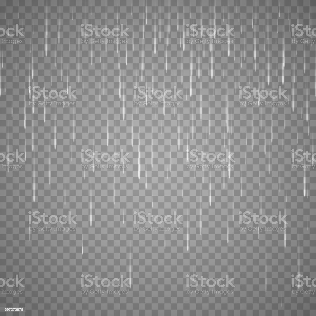 Transparent Rain Image. Vector Rainy Cloudy background vector art illustration