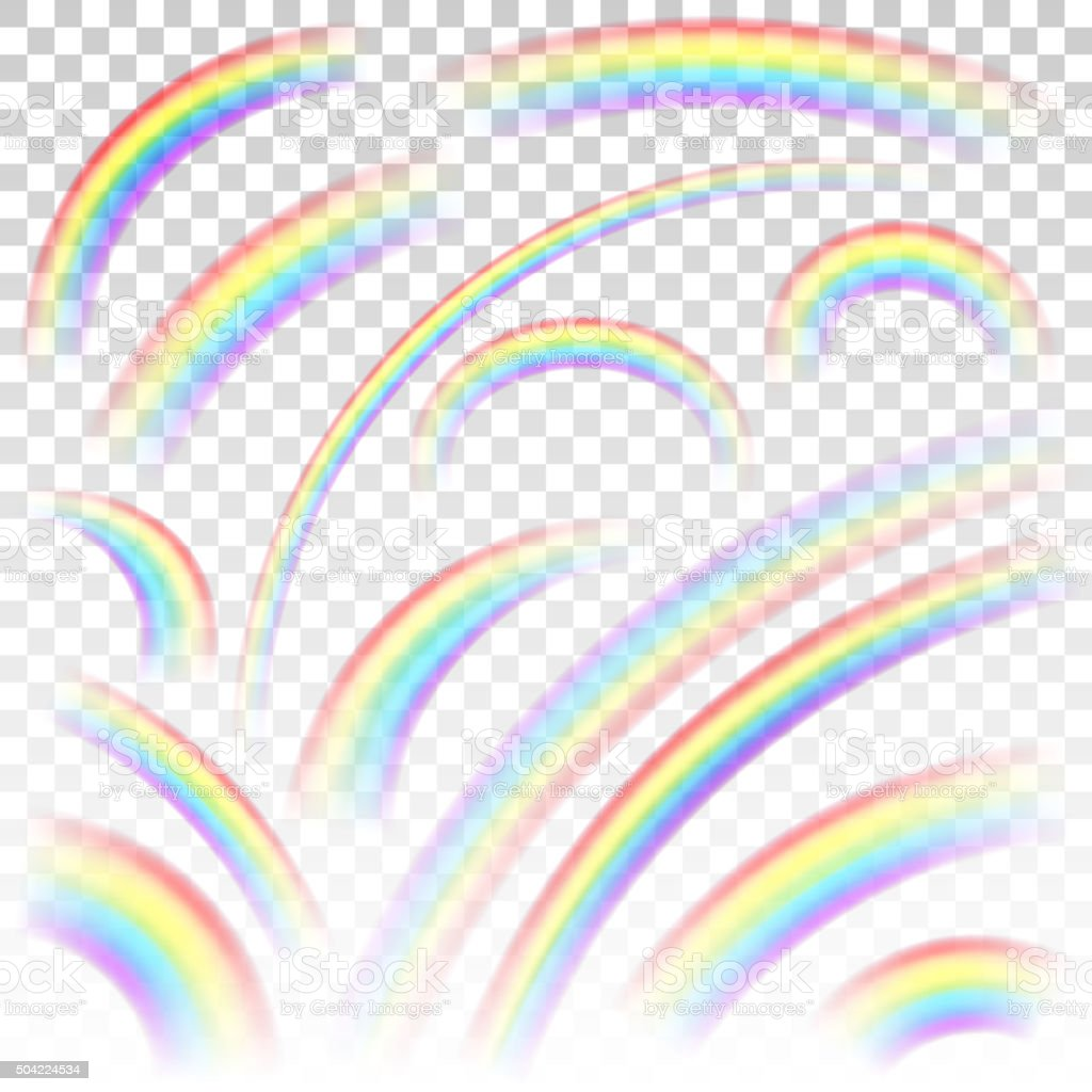Transparent rainbows vector art illustration