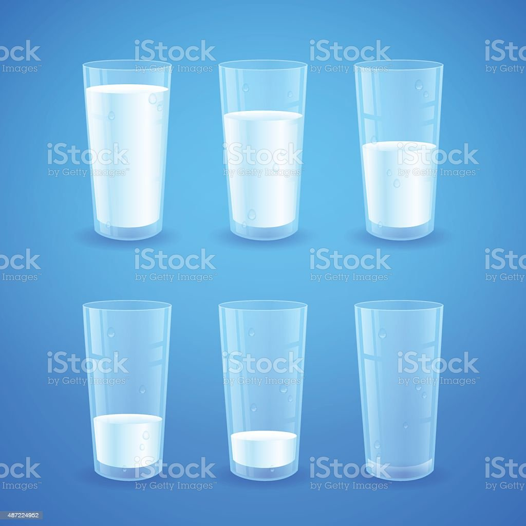 Transparent realistic glasses of milk isolated vector art illustration