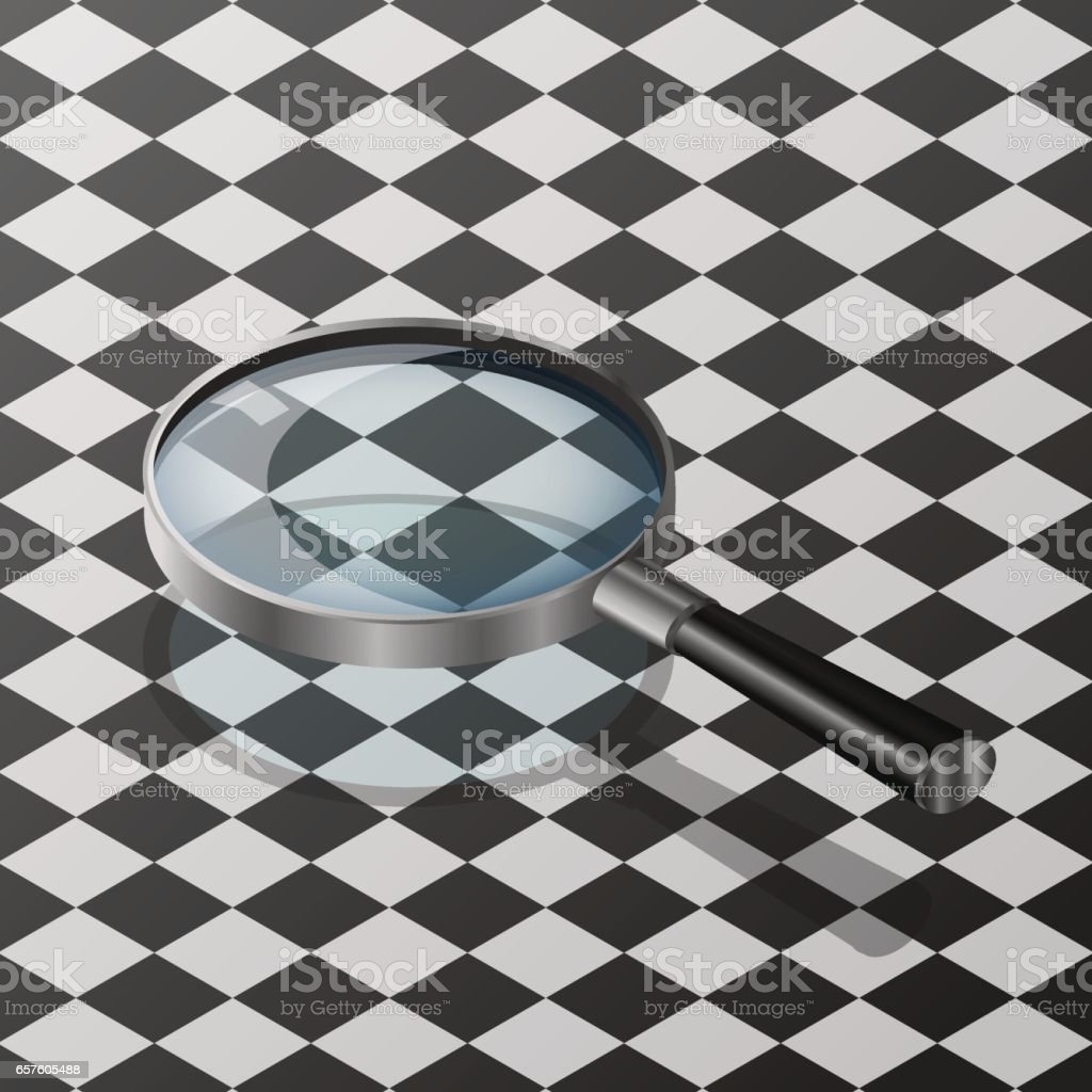 transparent realistic magnifying glass vector art illustration