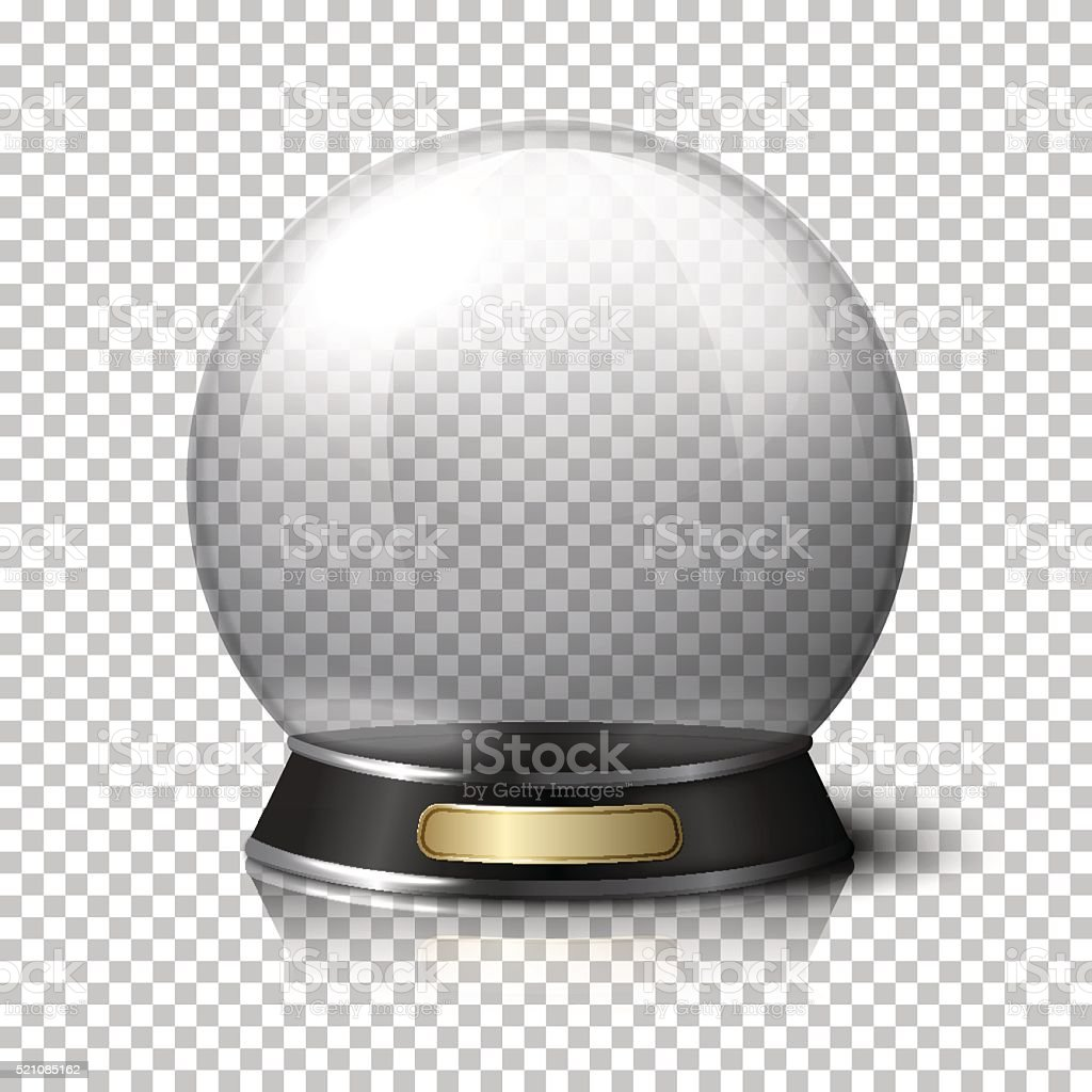 Transparent realistic vector crystal ball for fortune tellers. Isolated on vector art illustration