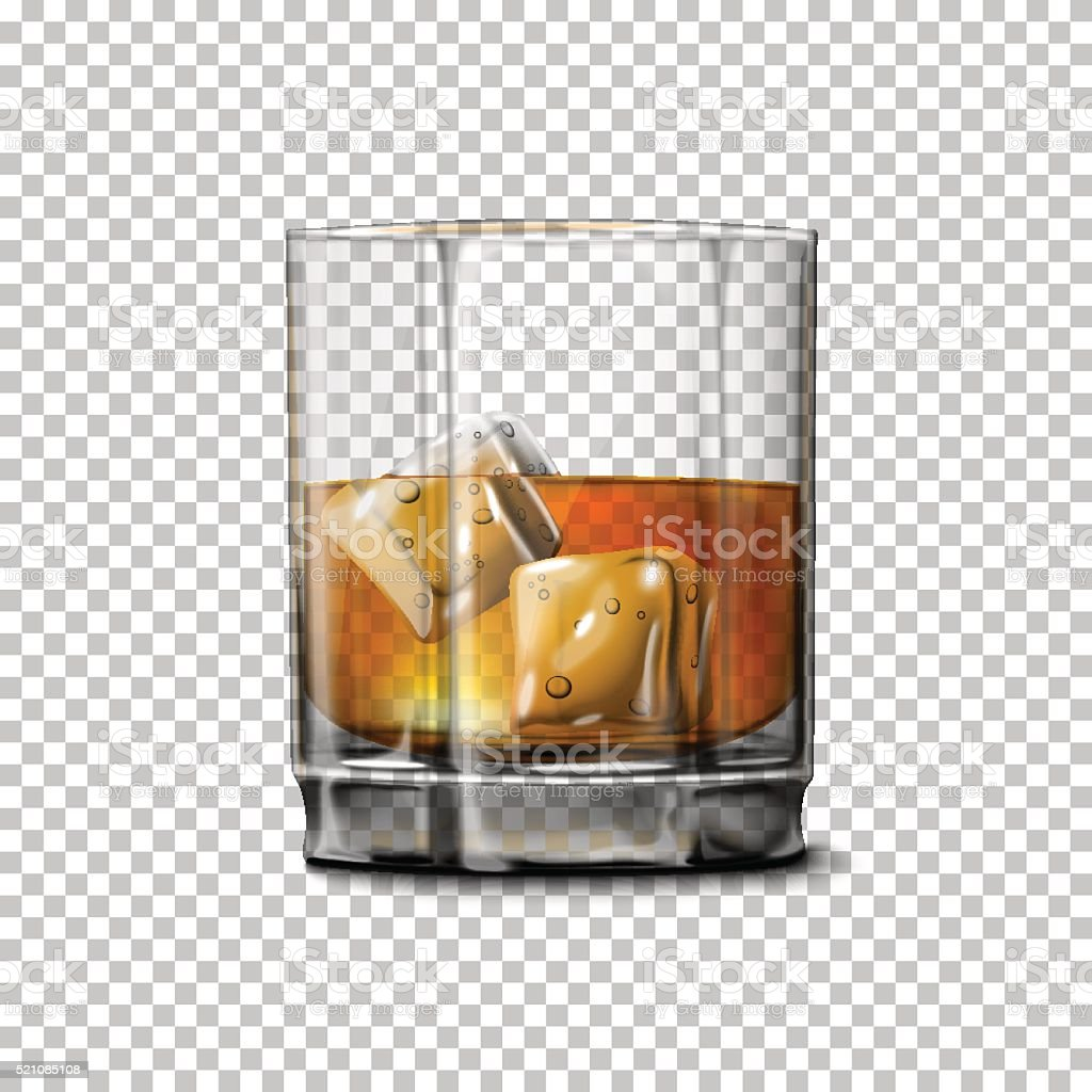 Transparent realistic Vector glass with smokey Scotch Whiskey and ice vector art illustration
