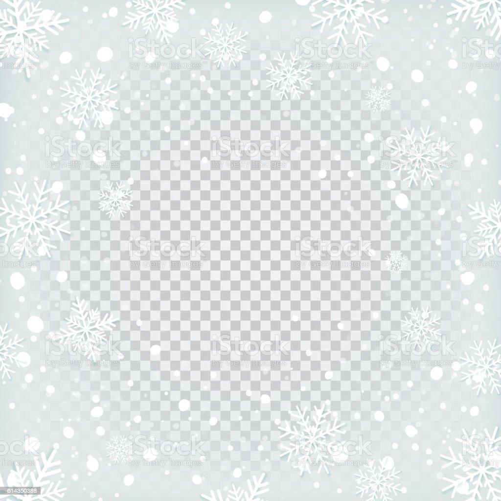 Transparent snow background. vector art illustration
