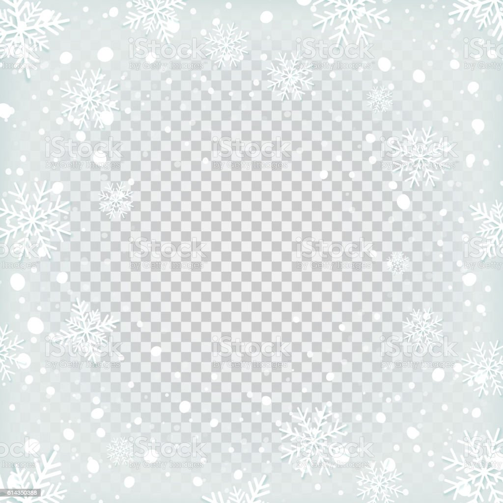 Transparent snow background. vector art illustration