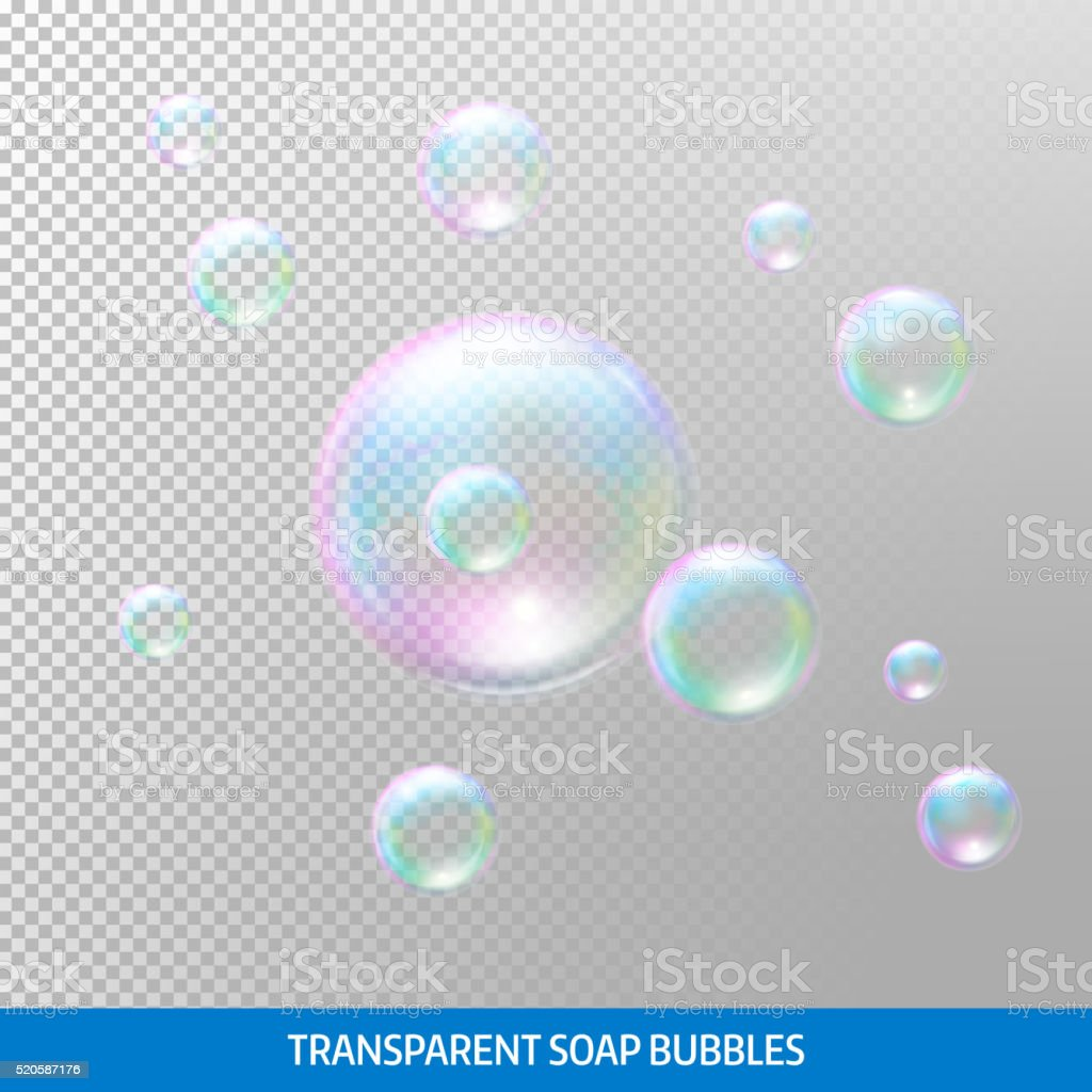Transparent soap bubbles. Realistic soap bubbles. Rainbow reflection soap bubbles vector art illustration