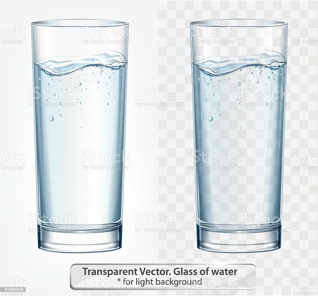 Transparent vector glass of water with fizz on light background vector art illustration
