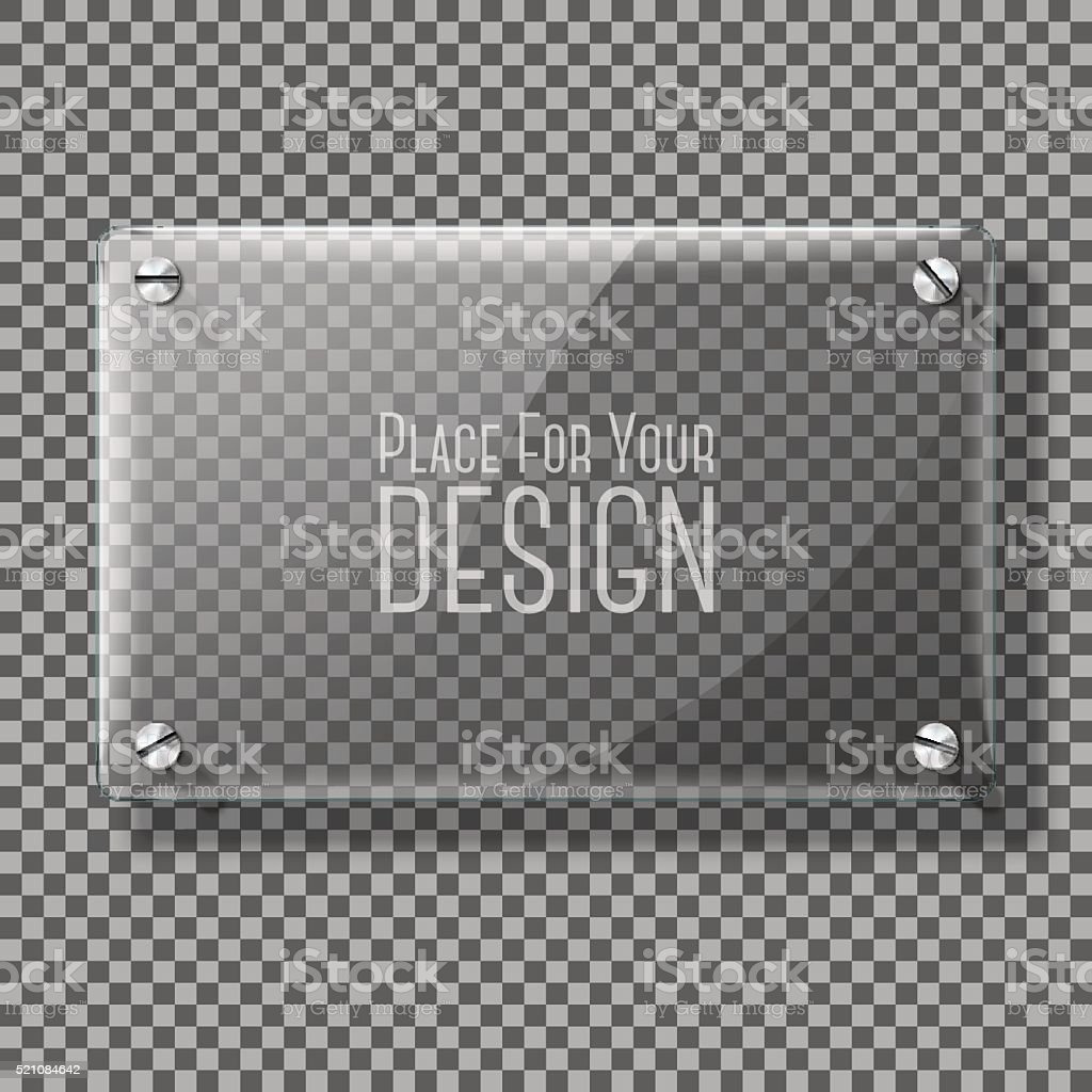 Transparent vector glass plate for your signs, on plaid background vector art illustration