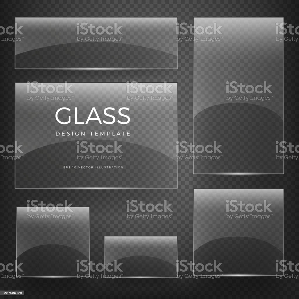 Transparent vector glass vertical and horizontal banners vector art illustration