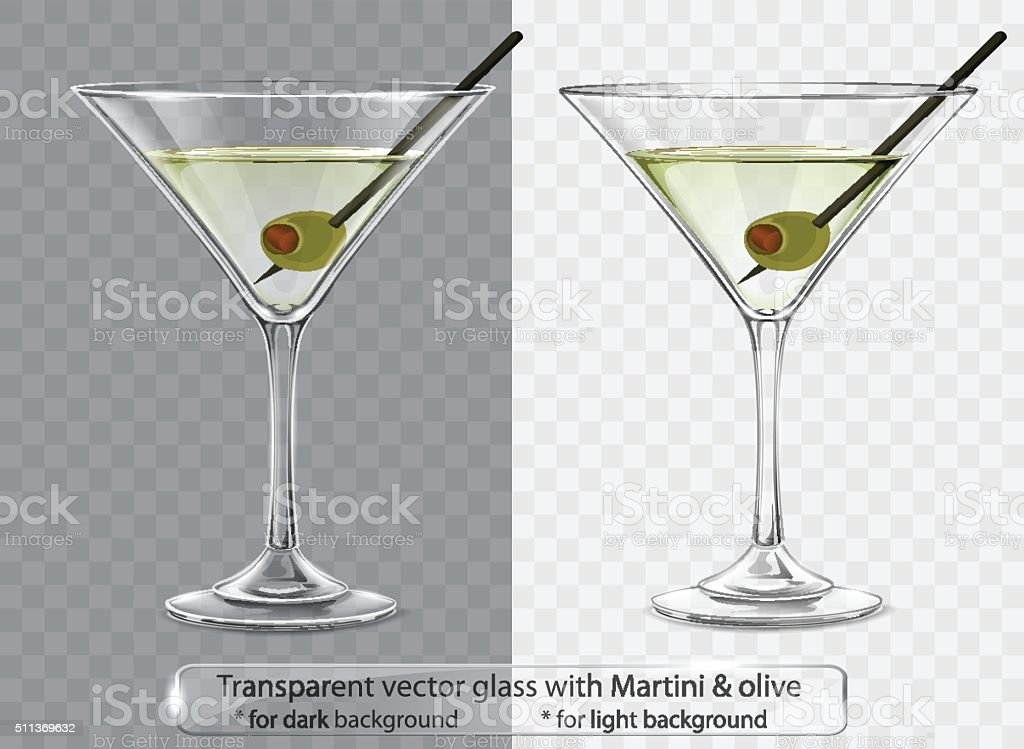 Transparent vector glass with Martini and olive vector art illustration