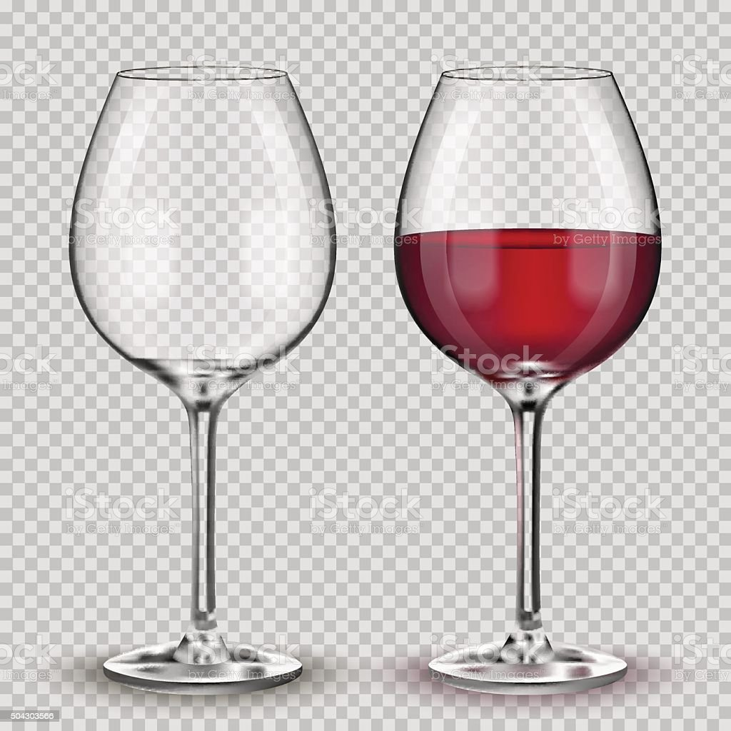Transparent vector wineglass with red wine. vector art illustration