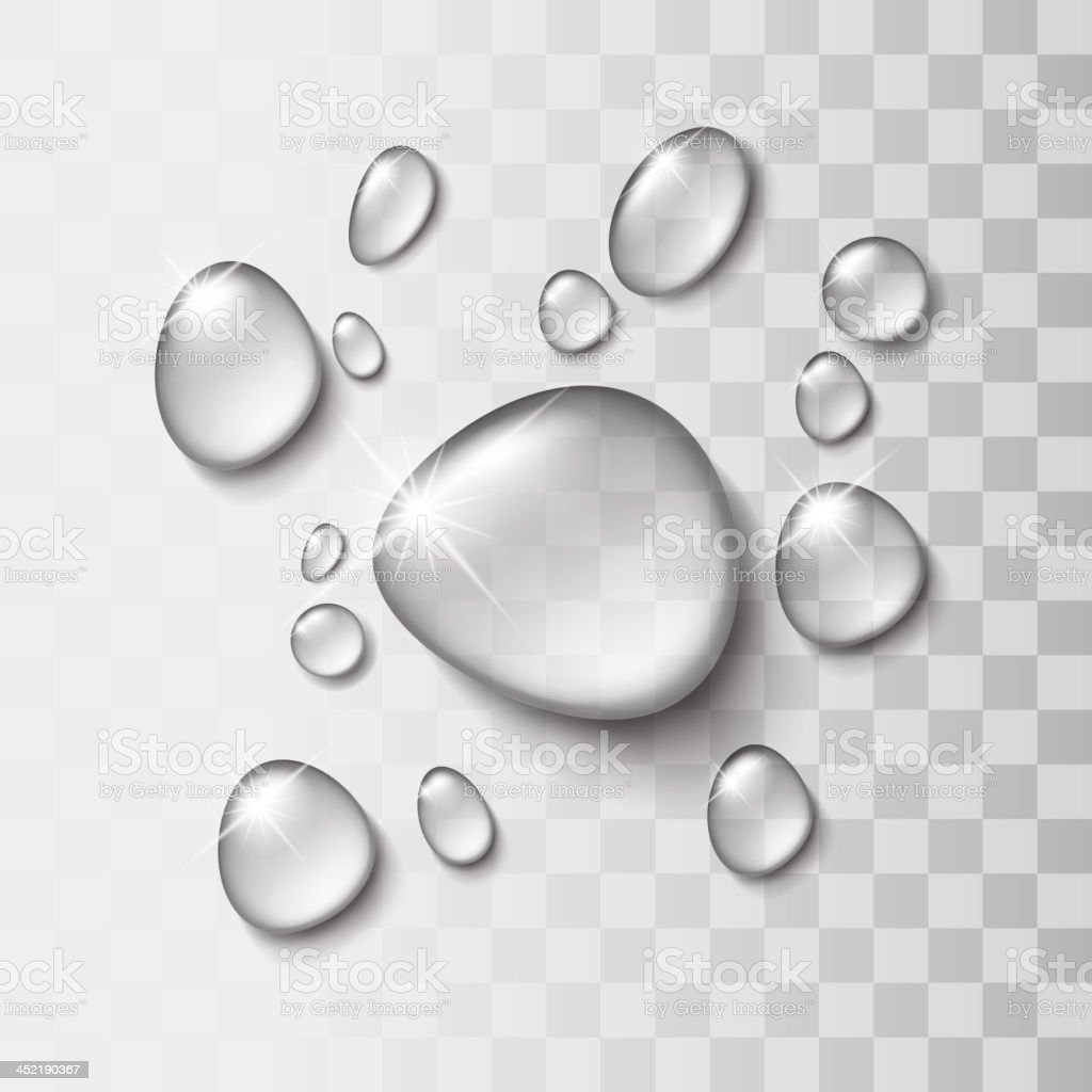 Transparent water drop vector art illustration