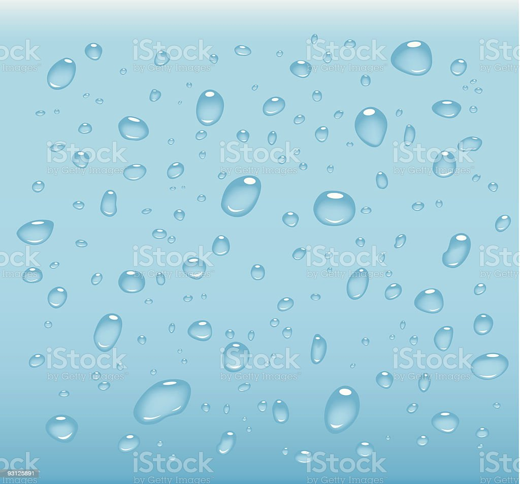 Transparent water droplets on blue royalty-free stock vector art