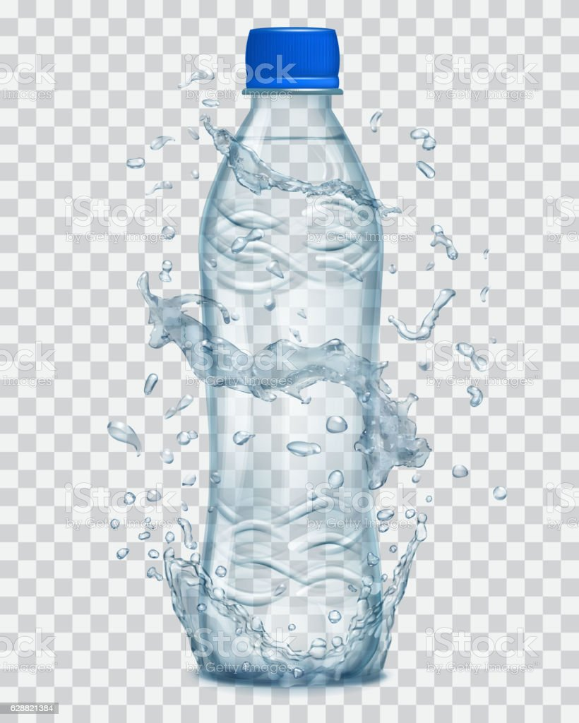 Transparent water splashes around a plastic bottle with mineral water vector art illustration