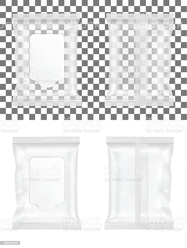 Transparent wet wipes package with flap vector art illustration