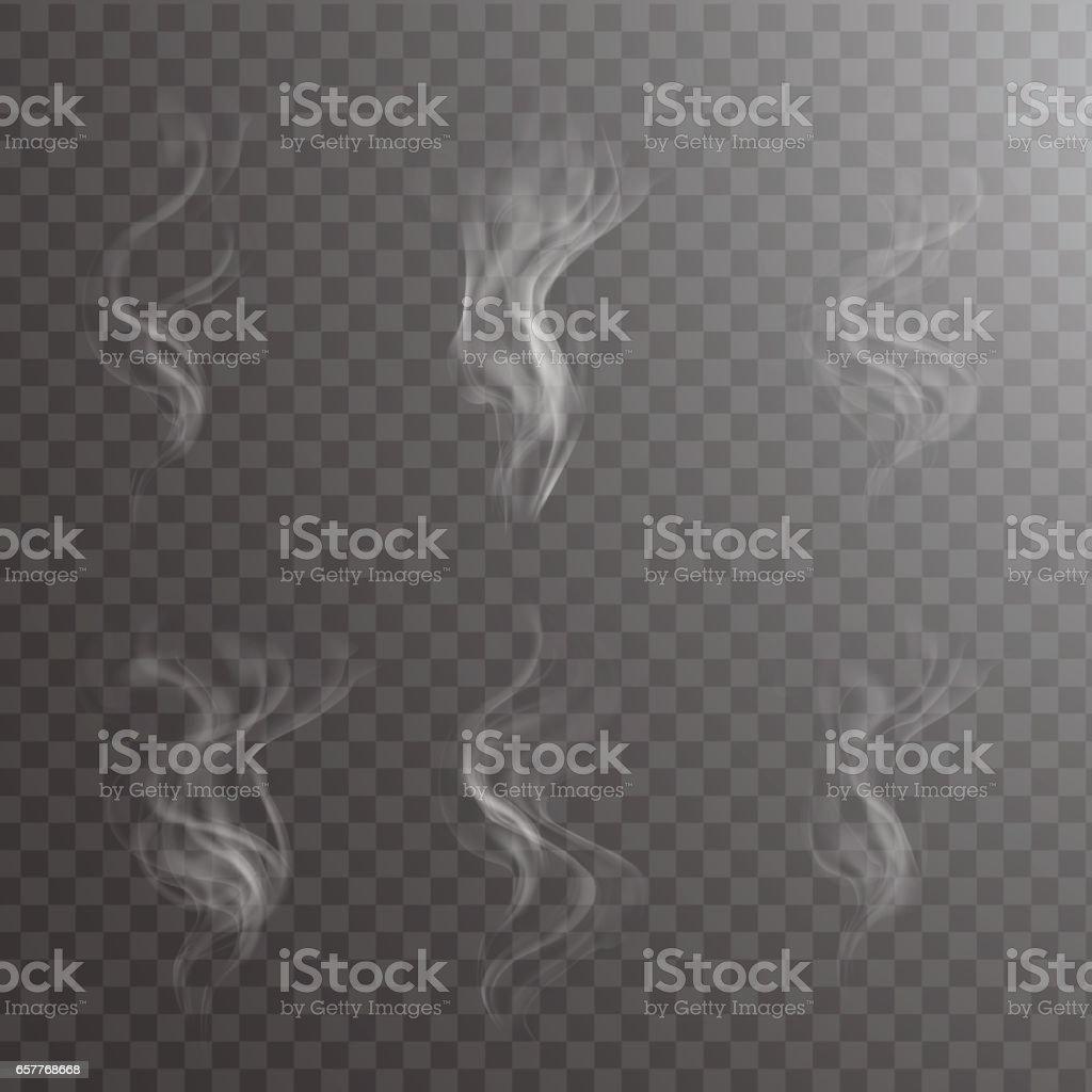 Transparent white steam over cup on dark background background vector illustration. vector art illustration