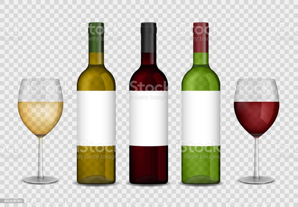 Transparent wine bottles and wineglasses mockup. red and white wine in bottle and glasses isolated. Vector illustration vector art illustration