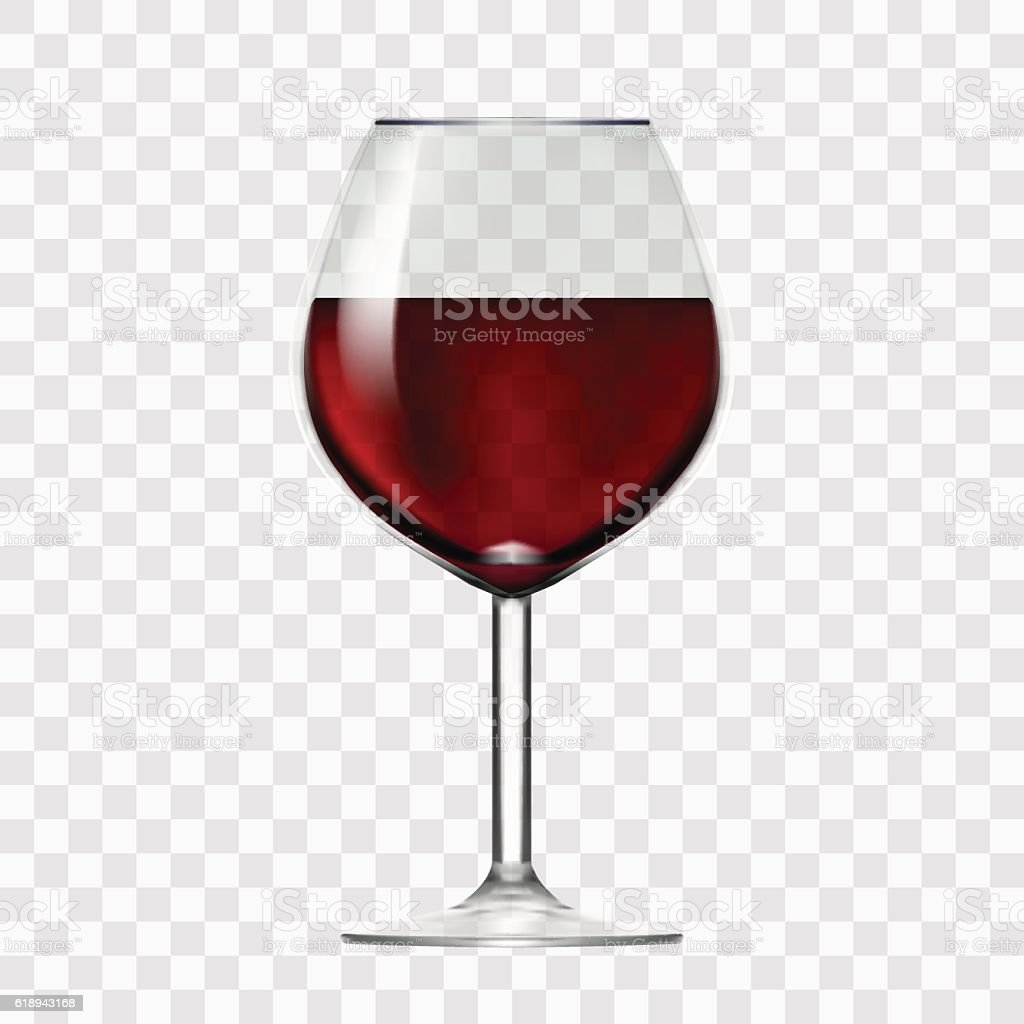 Transparent Wineglass With Red Wine vector art illustration