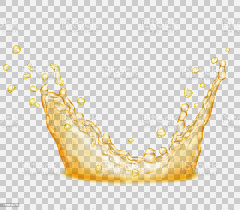 Transparent yellow crown from splash of water vector art illustration