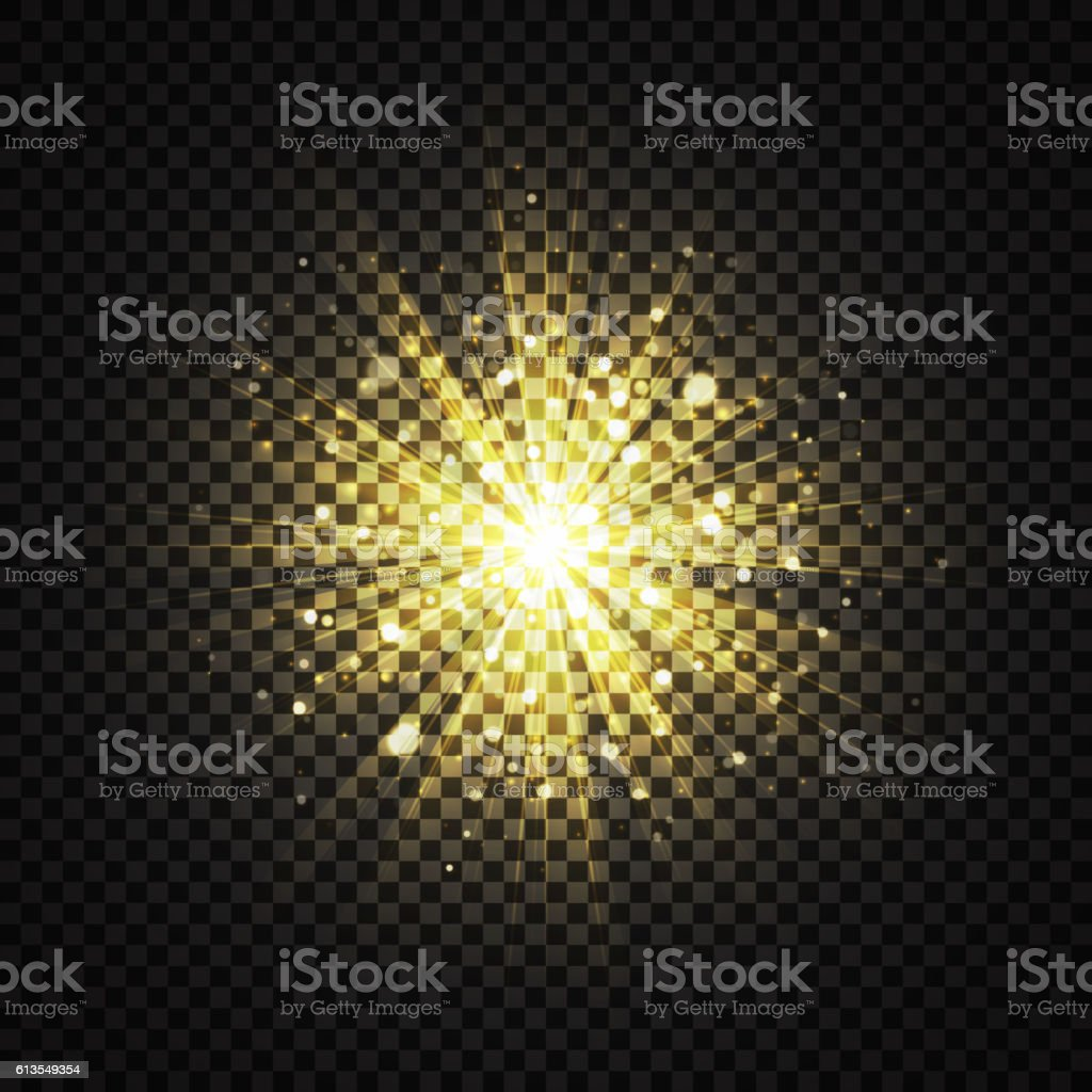 Transparent yellow glowing light glitter background effect royalty-free stock vector art