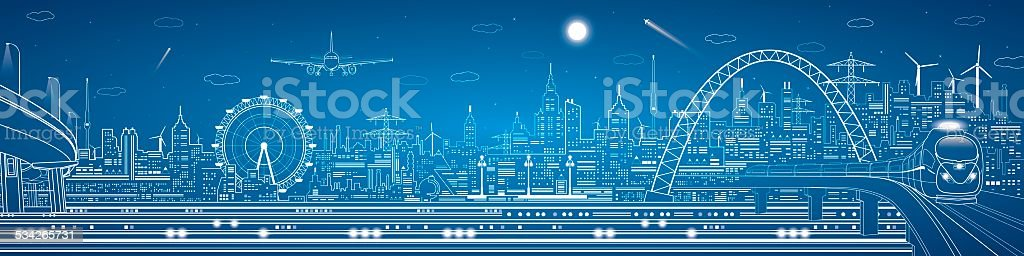Transport and industrial panorama vector art illustration