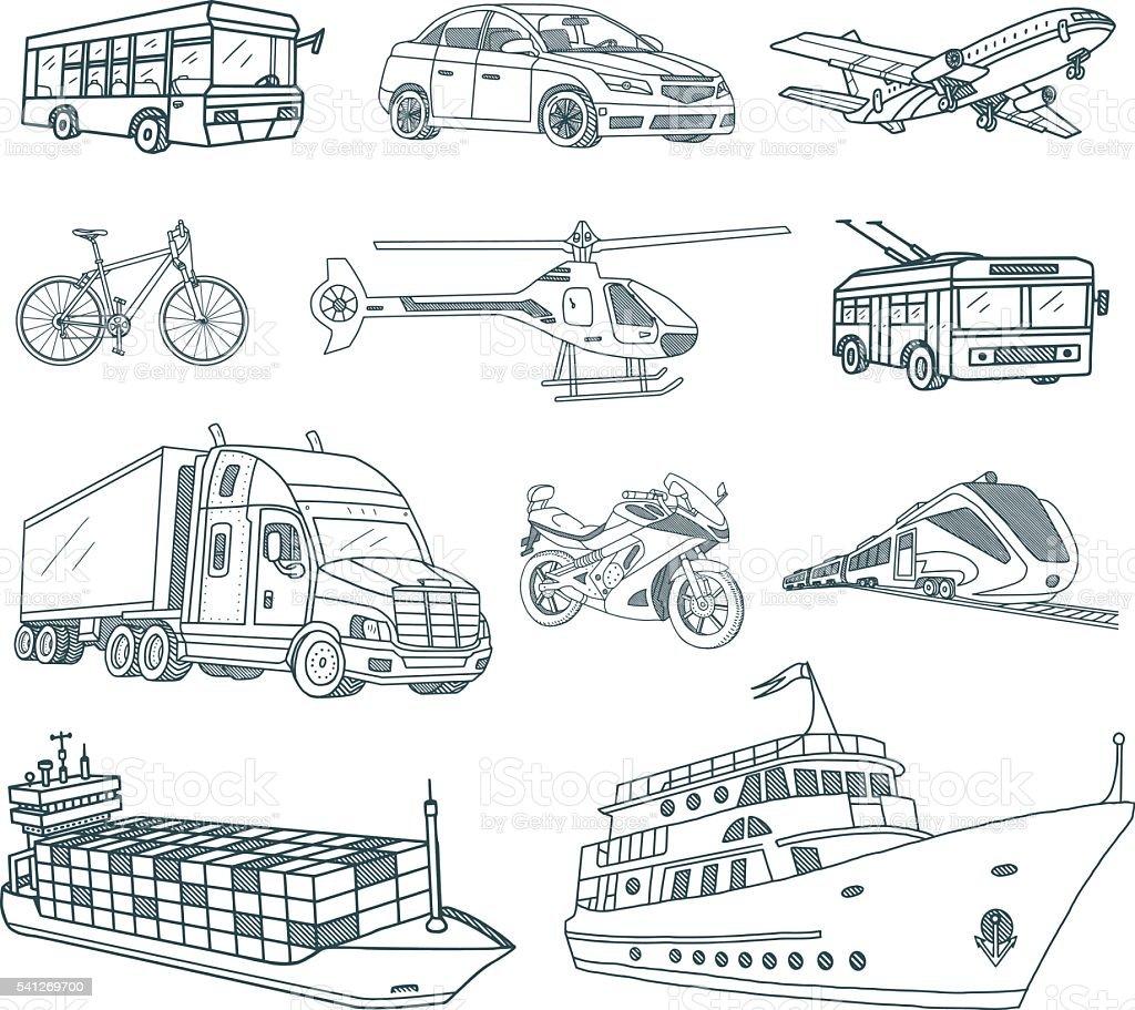 Transport and Logistics Doodles vector art illustration