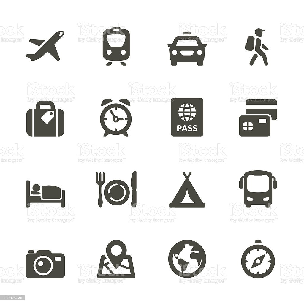 Traveling and transport icons vector art illustration