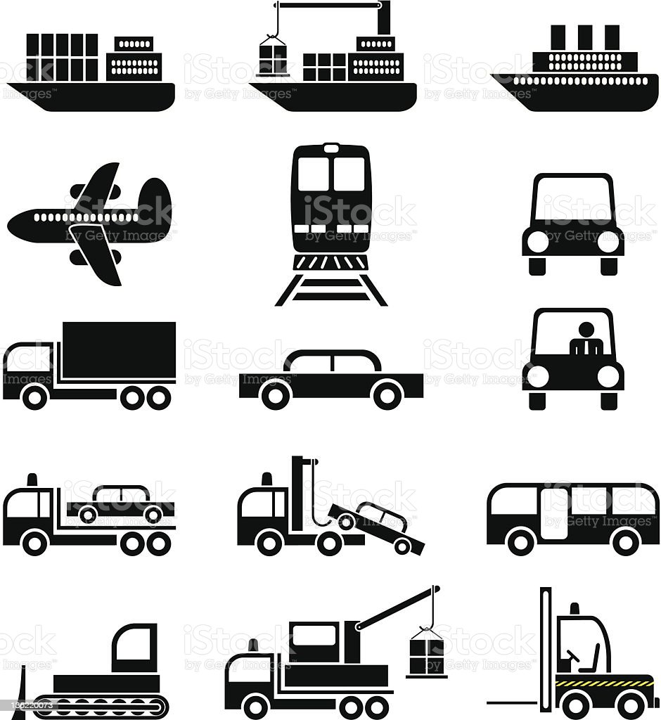 Transport and vehicles - vector icons vector art illustration