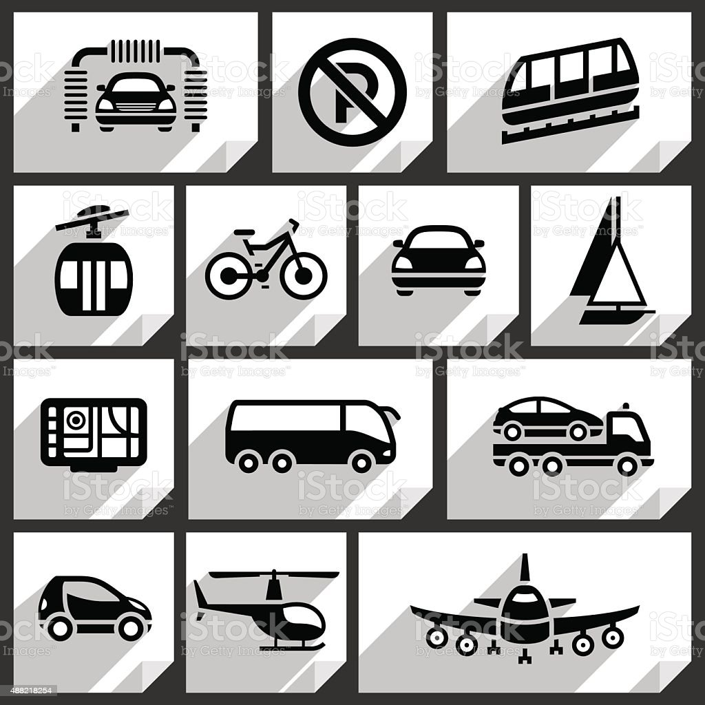 Transport black icons vector art illustration