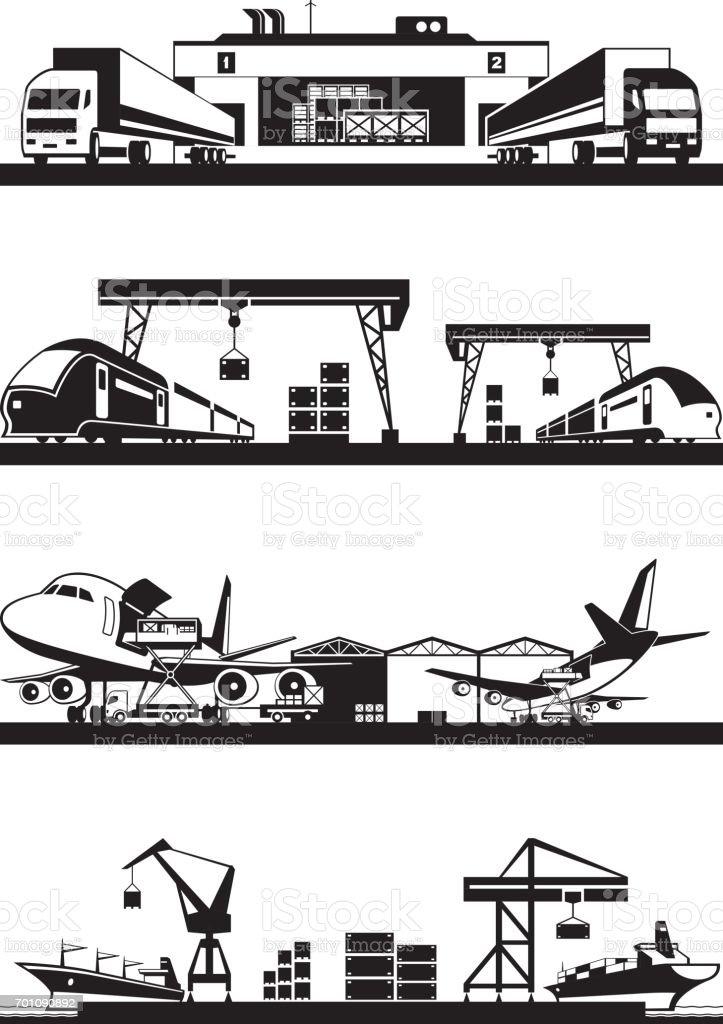 Transport cargo terminals vector art illustration