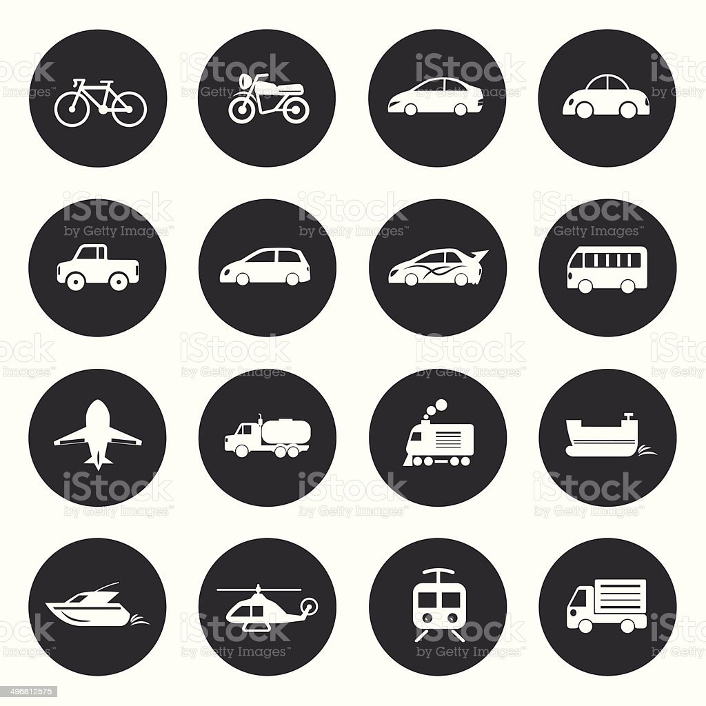 Transport circle Icons waterways, overland, air. Vector illustra vector art illustration