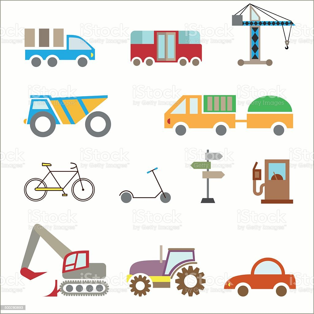 Transport collection, construction icon set, isolated on white royalty-free stock vector art