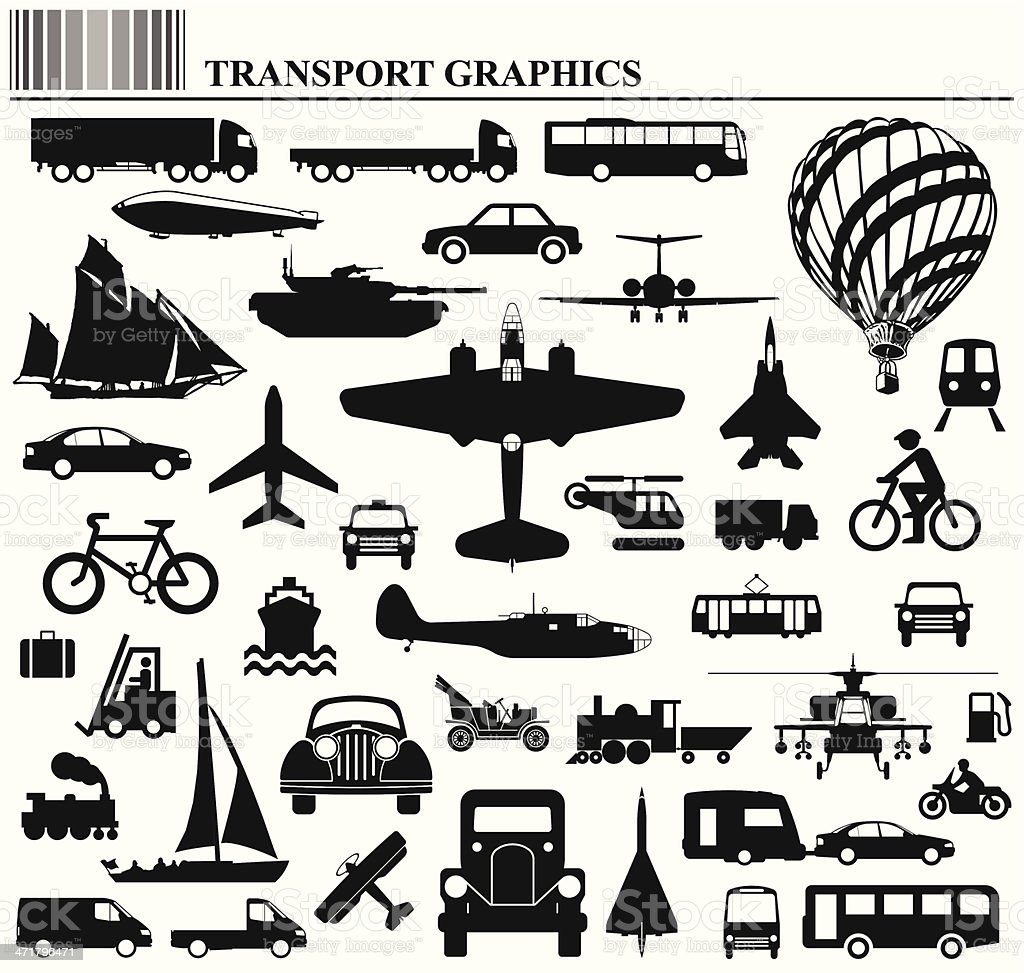 Transport collection vector art illustration