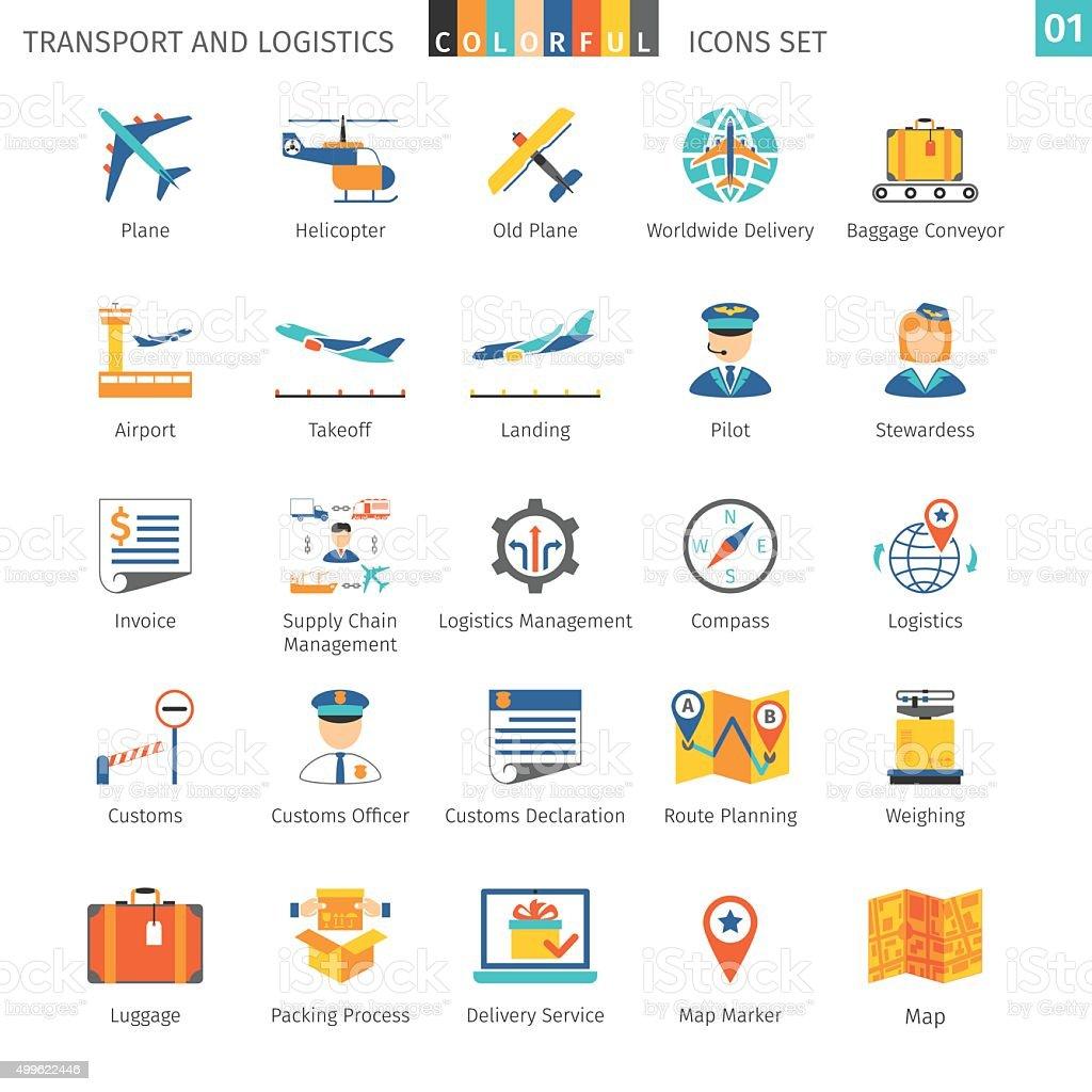 Transport Colorful Set vector art illustration